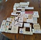 HUGE Lot Of 56 Wood Mounted Rubber Stamps Teacher Or Craft Supplies Scrapbook