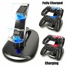 Led Dual Controller Charger Dock Station Stand Charging For PS4 Playstation  E1