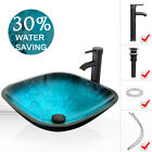 Square Vessel Glass Sink Faucet Pop Up Drain Artistic Tempered Bowl 15GPM Combo