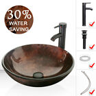 165 Round Tempered Glass Vessel Sink W Faucet Hand Made Pop Up Drain Combo