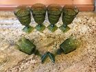 Seven (7) Retro Green 4oz Wine Glasses Mt Vernon Pattern By Indiana Glass