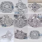 New Fashion Womens 925 Silver White Sapphire Wedding Engagement Ring Size 6 10