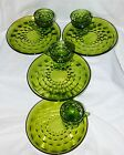 NIB VTG 8-PC AVOCADO GREEN CUBIST INDIANA GLASS SNACK SET WHITEHALL RETRO