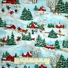 Christmas Fabric Winter Wonderland Barn  Farm House Scene Springs YARD