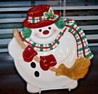 NOS Fitz and Floyd PLAID CHRISTMAS Snowman Canape Plate 9