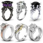 New Fashion Womens Skull 925 Silver White Sapphire Wedding Engagement Ring Set