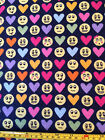 Snuggle Flannel Love Emoticons Emoji Hearts Happy Face Fabric 100 Cotton BTY