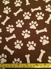 SNUGGLE FLANNEL Dog Puppy Paws Bones White Brown Prints 100 Cotton Fabric BTY