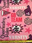 Snuggle Flannel Cheerleading Go Team Varsity Cheer Pink Purple 100 Cotton BTY