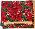 Vintage CHRISTMAS BUFFET TABLECLOTH Red Poinsettia Gingham Bows 114 X 50