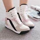 Chic Womens Casual Sneakers Wedge Heel Trainer Boots Rivet Sport High Top Shoes
