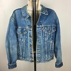 Vintage 90s Levis Jean Jacket Distressed Contractor Rugged Size 40 Medium Large