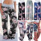 LADIES FLORAL YOGA PALAZZO TROUSERS WOMENS SUMMER WIDE LEG PANTS PLUS SIZE S 2XL