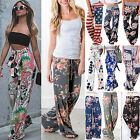 Women Boho Loose Wide Leg Pants Floral High Waist Palazzo Flared Long Trousers