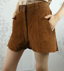 Vintage Suede Brown Shorts Cut Offs Bedford Fair Lined Size Small