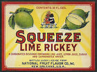 1920s SQUEEZE LIME RICKEY Bottle Label Stone Litho New Orleans