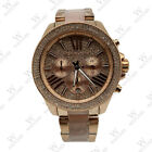 New Michael Kors MK6096 Wren Rose Gold Blush Chrono Womens Glitz Stainless Watch