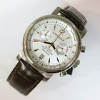 NEW $275 GENTS WENGER 43MM SILVER DIAL URBAN CLASSIC STRAP CHRON WATCH #1043.110