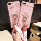 Girls Cute Hello Kitty Bear Soft Case Cover for iPhone  Ring Kickstand  Strap
