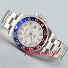 BLIGER 40mm White Dial Sapphire Glass Date Window GMT Automatic Mens Watch