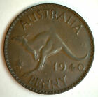 1940 Bronze Australia One Pence 1 Penny Coin XF