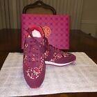 NIB Tory Burch Pette Sneaker in Kyoto B Cabernet Royal Tan Size 10