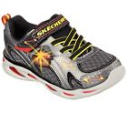 New !! Skechers Toddler Boy's Lights Ipox Rayz Shoes Gunmetal/Red #90386N 161L