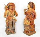 Pair of Asian Chinese Style (1960s) Terra-Cotta Life Size Seated Figures