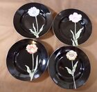 4 Lg Rim Soup Bowls Orange, Blue, Pink, Yellow Flowers Fitz&Floyd Midnight Poppy