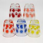 Vintage Retro Shot Glasses Sunny Polka Dot Set of 5 Blue Yellow Pink Red Orange