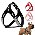 Soft Suede Leather Bling Rhinestone Dog Harness For Chihuahua Yorkie S M L Black