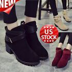 Fashion Women Winter Snow Lady Low Heel Ankle Belt Buckle Martin Boots Shoes US