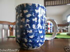 Hearts Collector Mug (s) 10 oz. Tienshan Folkcraft Stoneware White Blue Sponge !