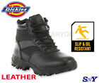 Mens soft toe slip  oil resistant work boot black LEATHER cushioned boots d