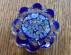 Peter McDougall Scattered Millefiori Daisy on Blue Ground Glass Paperweight PMcD