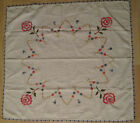 Small Embroidered Tablecloth Crochet Border Flowers Floral