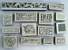 14pc Lot of Foam Mounted Rubber Stamps Me Ink  Stampin Up Words Text