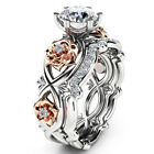 925 Sterling Silver  Rose Gold Filled White Sapphire Flower Wedding Ring Set