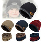 2pcs Kids Boys Girls Winter Warm Knitted Hat + Scarf Set With Soft Fleece Lining