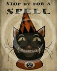 Primitive Folk Art Black Cat Halloween Fall Harvest Autumn Print 8x10