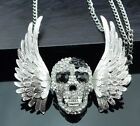 Betsey Johnson Necklace SKULL WINGS Silver And Black Goth Biker Womens HALLOWEEN