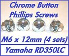 Philips Button Fairing Screws (Chrome Plated)  - M6 x 12mm - Yamaha RD350LC