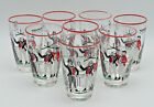 1940s Libbey Pickwick Dickens Tumbler Glasses Set Of 8 Retro Black Red And White