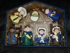 New Nativity 7 Piece Set Clay Felt Creche Baby Jesus Angel Mary Joseph Ornaments