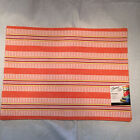 Fiesta Placemats Pomona Stripe POPPY   Set of 2 Cotton  ***NWT***