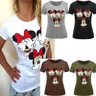 Fashion Women Sexy Funny Mickey Minnie Mouse Not See Hear Know T shirt Tops Tee