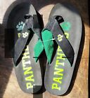 New Custom Panthers Flip Flops with Paw Print cut out Womens 95 10