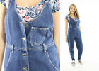 Vintage S Womens Lee Denim Jean Jumpsuit Overalls Grunge Tapered Leg Zigzag 90s
