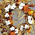 New Thanksgiving Country SOUTHERN COTTON POD FALL LEAVES DOOR WREATH Grapevine