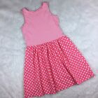 Lands End Girls Size M Medium Dress Sleeveless Pink Stripes And Polka Dots